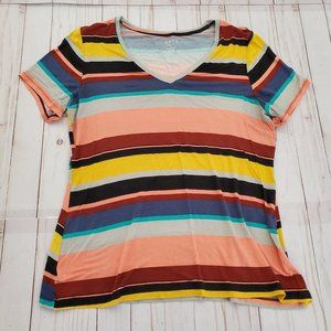 Apt 9 Multi Color Striped V Neck T Shirt Size L